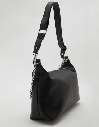Black Shoulder Bag with Chain