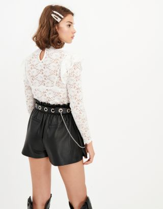 Black Eyelet Belt with Chain