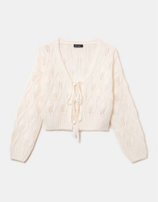 White Pointelle Cardigan