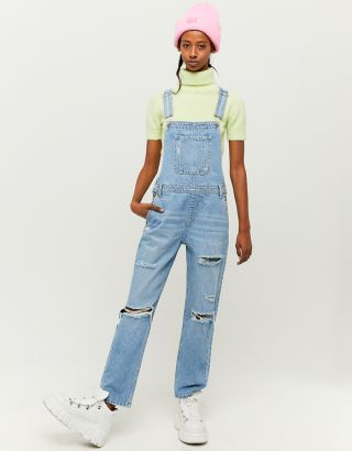Straight Leg Denim Overalls
