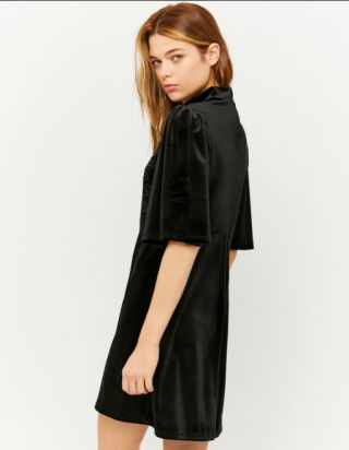 Black Velvet Short Sleeve Dress