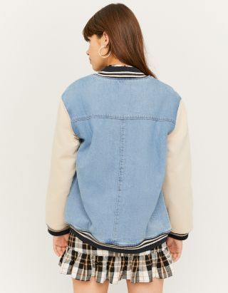 Varsity Denim Shirt Jacket