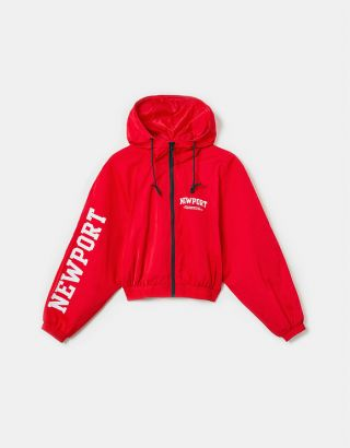 Red Printed Windbreaker