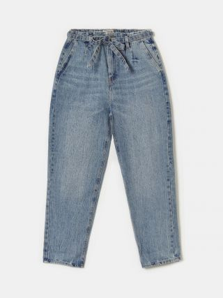 High Waist Slouchy Jeans with Drawstring Belt