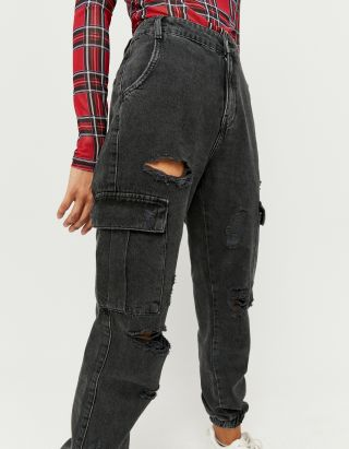 Ripped Cargo Jogger Jeans