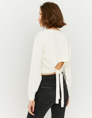 Tie Back Cable Knit Jumper