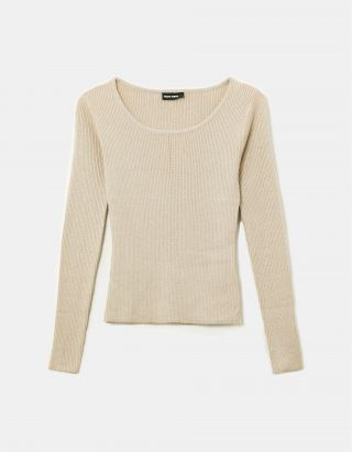 Ribbed Lurex Knit Top
