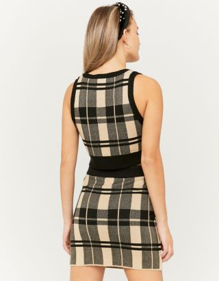Beige Check Skirt