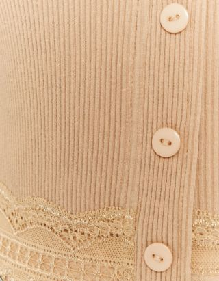 Buttoned Top with Lace Detail