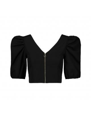 Zip Cropped Blouse