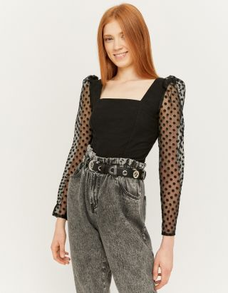 Black Dotted Mesh Blouse